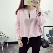 New Womens Ladies Fashion 3/4 Sleeve Zipper Pullover Blosue Tops Shirt SML