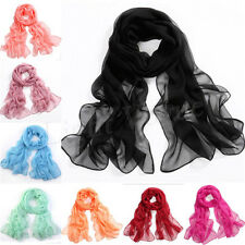 Girl's Womens Fashion Long Soft Wraps Lady Shawl Silk Chiffon Scarf 20 Colors b7