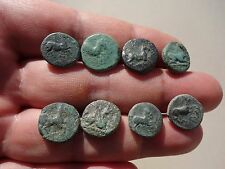 ancient lot of eight Greek bronze coins 450 BC - 100 AD