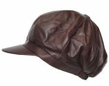VICTORIAN BROWN PEAKY BLINDERS BAKER BOY NEWS BOY GATSBY LIGHT LEATHER FLAT CAP