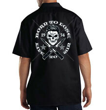 Dickies Mechanic Work Shirt Born To Lose Live To Win Greaser Skull Switch Blades
