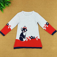 Kid Girl Baby Top Dress Tutu Toddler Fox Sweater Long Sleeve Mini Skirt Clothes