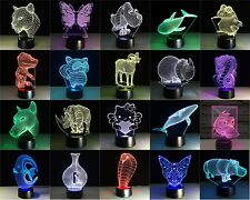 New Design 7 colorful 3D LED Night Touch Switch Table Desk Light  animal lamp