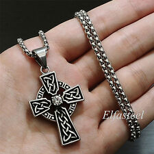 Celtic Cross CZ Stone Stainless Steel Men Women Pendant Box Chain Necklace Set