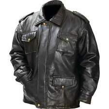 New Mens Black Genuine Leather FIELD JACKET Bomber Coat Motorcycle Biker Lined
