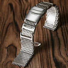 20/22/24mm Silver Stainless Steel Men Solid Shark Mesh Watch Band Strap Bracelet