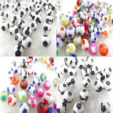 Charm Black & White Multicolor Acrylic Football Round  Loose Spacer Beads 8mm