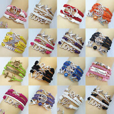 Fashion Hand-woven Leather Bracelet LOVE Multilayer Braided Wristband Jewelry