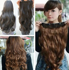 One Piece Long Hair in Hair Curly Synthetic Clip 5 Clips Wavy Extensions