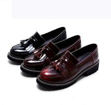 Retro Womens Loafer tassels Slip-On Genuine Leather Brogue Casual Oxfords Shoes