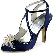 Navy Blue Peep Toe High Heel Strappy Rhinestones Satin Evening Party Sandals