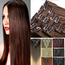 US SELLER Natural Hair Clip in on Hair Extension Full Head Mega Long Human style