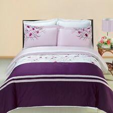 Full/Queen Cherry 3PC Embroidered Duvet Cover Set 100% Combed Cotton 300TC
