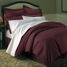 Full/Queen Hotel Feel 600TC 100% Combed Cotton Sateen Striped Duvet Cover Set