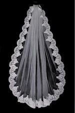One Layer White or Ivory Lace Edge Fingertip Length Wedding Veil with Comb