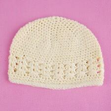 Cotton Crochet Handmade Beanie Cap Baggy Hat Baby Toddler Kids Beret Beige/Pink