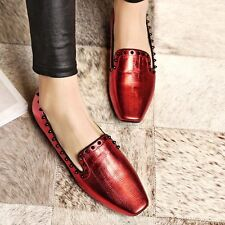 Fashion Womens Flats Spike Studded Real Leather Oxfords Sexy Pull On Party Shoes