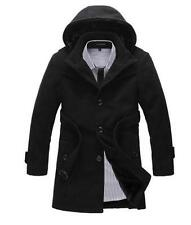 Mens Lined Hooded Thicken Coat Trench Casual Winter Slim Jacket Peacoat Parkas