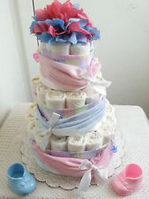 3 Tier Washcloth Swag Drape Diaper Cake Baby Shower Centerpiece Boy Girl Unisex