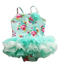New Infant Baby Girls Swimwear One Piece Lace Tutu Floral Green Swimsuit Costume