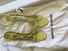 Manolo Blahnik Women's Lace Up Strappy Sandals Heels Yellow Lime Green Size 38