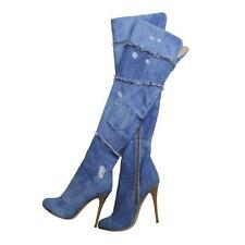 NEW Women Denim Over the Knee Boots High Heel Thigh High Boots With Side Zipper