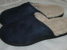 Fleece Lined Slip on Scuff Slipper Indoor/Outdoor Sole~M,L,X~NAVYBLUE Microfiber