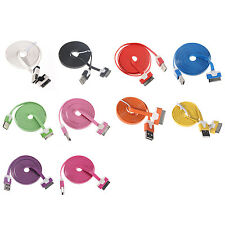 2M 6FT Flat Noodle USB Data Sync Charger Cable For iPod Touch iPhone 4 4S BF