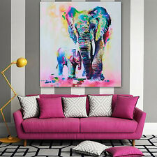Multicolor Elephant Canvas Painting Frameless Pictures Living Decor Spirited