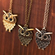 Women Owl Pendant Retro Necklace Long Charm Sweater Chain Hollow Vintage Jewelry