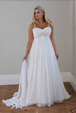 2017 New Plus Size White/Ivory Bridal Gown Chiffon Wedding Dress:14---26