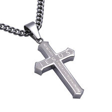 Isaiah 54:17 NO WEAPON Christian Cross Pendant, Stainless Steel Curb Chain