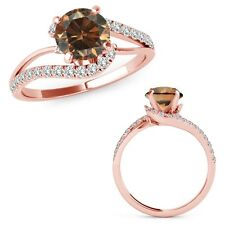 0.75 Ct Champagne Color Diamond By Pass Solitaire Halo Ring Band 14K Rose Gold