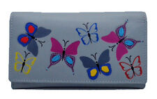 Mala Leather Medium Flapover Purse with RFID Style Mimosa butterfly Design New