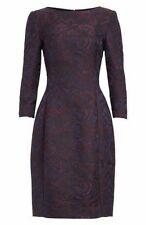 $2490 New Oscar de la Renta Wool Blend Jacquard Black Merlot Navy DRESS 0 2 4