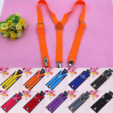 Fashion Women's Unisex Mens Adjustable Clip-on Suspenders Elastic Y-Shape Braces