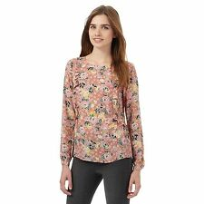 Red Herring Womens Light Pink Floral Print Ruffle Front Blouse From Debenhams