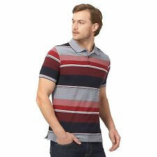 Maine New England Mens Big And Tall Navy And Red Striped Tailored Polo Shirt
