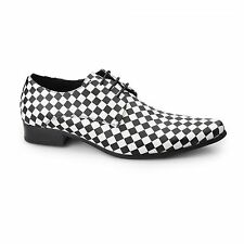 Mister Carlo BARISTA Mens Plain Pointed Faux Leather Shoes Black & White Check