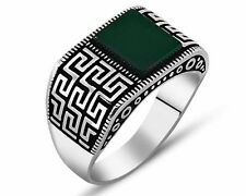 EREN Green Onyx Patterned 925 Sterling Silver Men's Ring