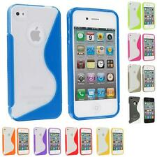 For iPhone 4S 4G 4 TPU Color Clear S-Line Rubber Skin Case Cover Accessory