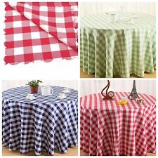 Plaid Tablecloth 100% Cotton Home Dining Xmas Party Picnic1.8m Round Table Cloth