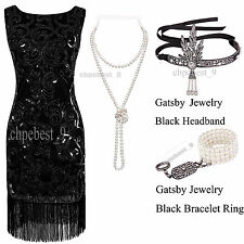 1920s Flapper Dresse Gatsby Prom 20s Night Party Cocktail Evening Costumes 8-18