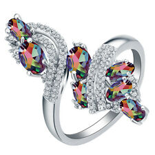 Fashion 925 Silver Mysterious Rainbow Topaz Wedding Engagement Ring Size 6-10