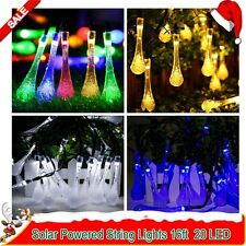 Solar Powered String Lights 16ft 20 LED Water Drop String Fairy Lights Xmas Tree