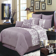 King Size 8PC Bliss Bed in A Bag Includes Bed Skirt and Decorative Pillows