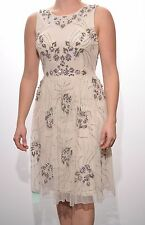 Embellished dress tea cream flower detail sequins beaded PROM BALL Size 6/10/12