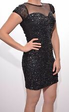 Embellished Black Dress MIA Bodycon Luxe Beaded Sequined Sweetheart UK Size 8/16