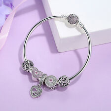 New Authentic 925 Sterling Silver Clear CZ Charm Bracelet with Love Heart Dangle