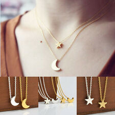 Fine Women Star/Crescent Moon Pendant Necklace Cool Jewelry Silver Gold Color